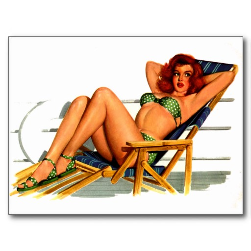 beach_chair_pin_up_girl_retro_art_postcard