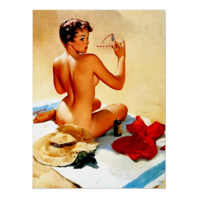 sunbathing_beauty_pin_up_girl_retro_art_poster