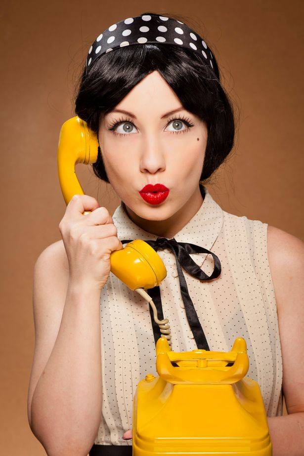 Pin-up+girl yellow phone