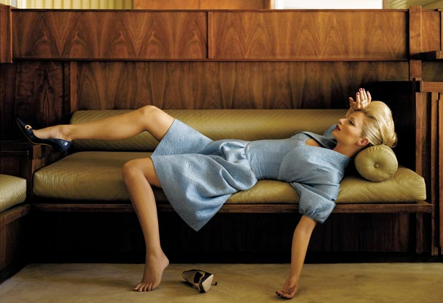 woman-on-fainting-coach_yellow-brown-blue-exhaustion-vintage-glam_amy-neunsinger