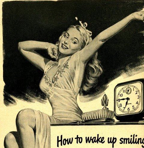 vintage wake up smiling