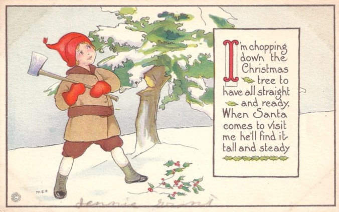 Christmas - Chopping Down the Christmas Tree Poem, 1921