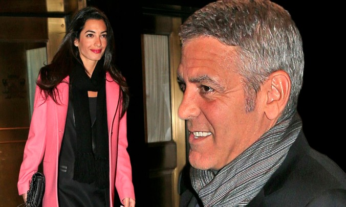 Amal Alamuddin dresses up on her way to dinner in New York City